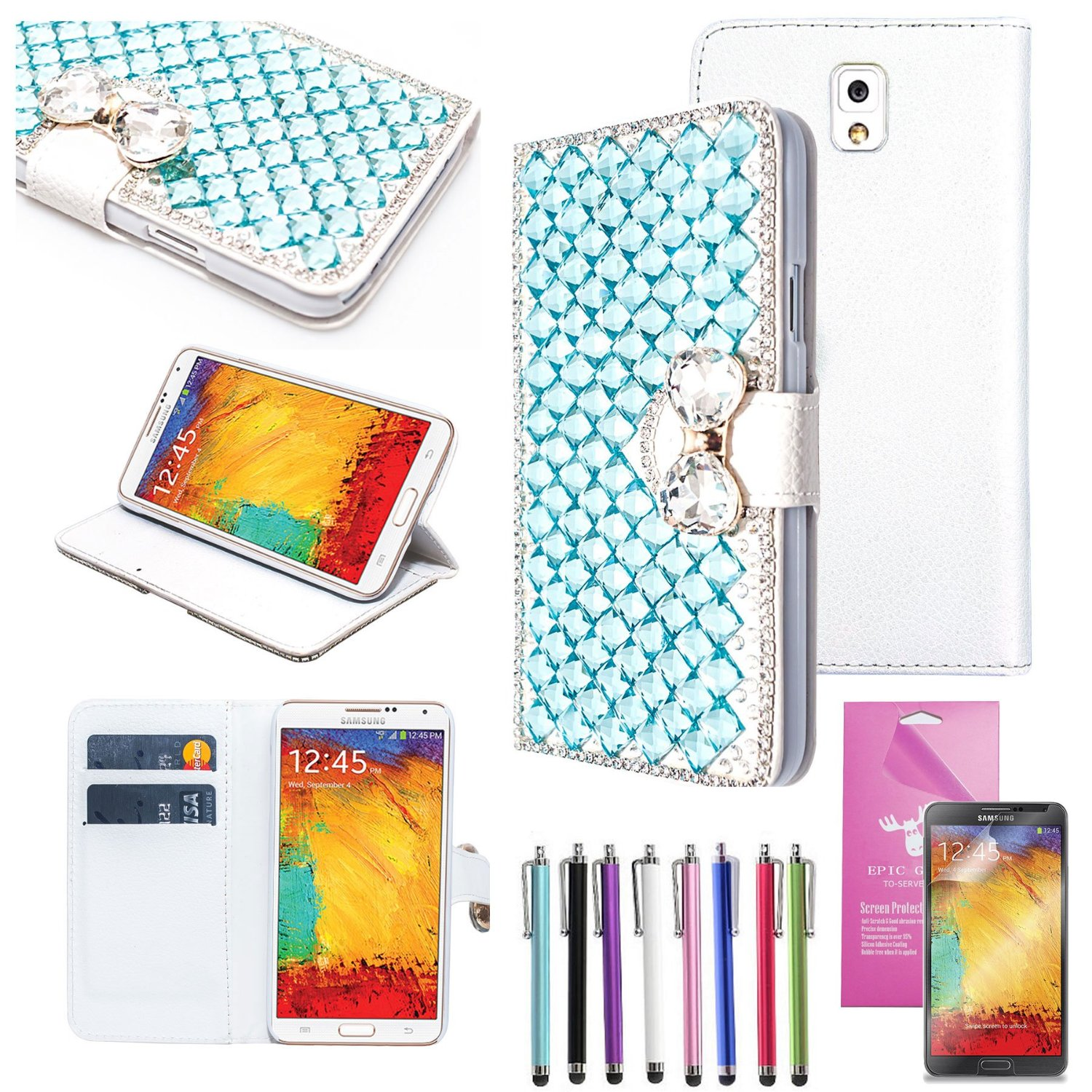 EpicGadget(TM) For Samsung Galaxy Note 3 Handmade Luxury Diamond Crystal Blue Bling Bling White PU Leather Case With Crystal Bow Knot Stand Purse Wallet Case Magnet Flip Cover With Credit Card Holder Pouch + Note 3 N9000 Screen Protector + 1 Stylus Pen (Random Color) (US Seller!!) (Crystal Blue)