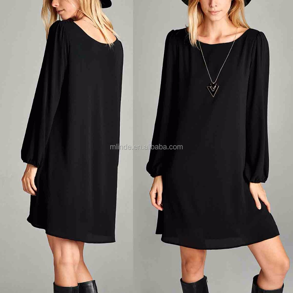 Sexy Korea Style Long-Sleeve Shift Dress for Women Ladies Clothing Casual Plain Dyed Dresses Wholesale High Quality