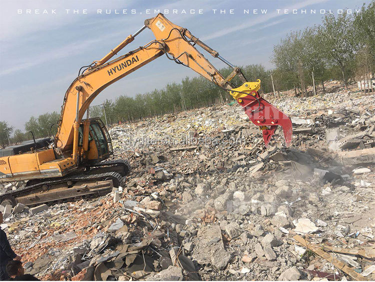 excavator attached demolition machine bucket crusher
