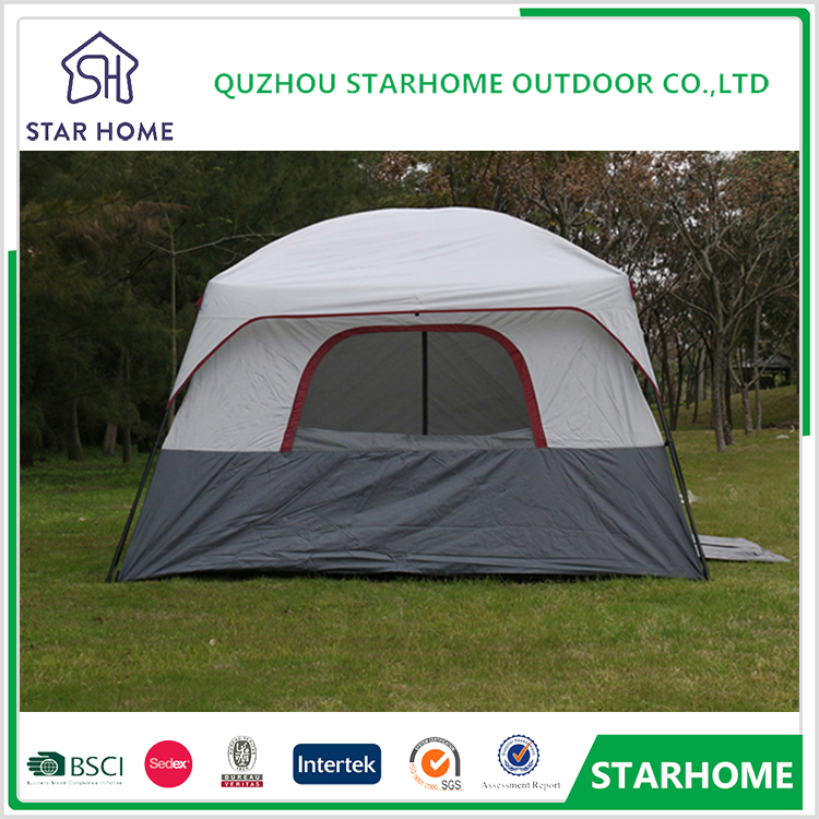 best price custom grey large waterproof 2 Bedrooms Nylon rope 4 season family cabin tent