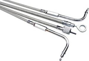 <p> ARMOR COAT CABLES</p> <ul> <li> Attractive stainless steel weave with performance and attitude</li> <li> Clear Armor Coat protects chrome and painted surfaces</li> <li> Premium chrome fittings</li> <li> Terminator clutch cables are longitudinally wound for less housing flex</li> </ul>