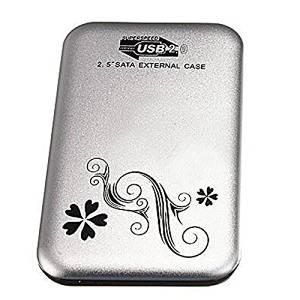 "HDD External Case - TOOGOO(R) 2.5"" Flower External Hard Drive Disk USB 2.0 SATA HDD Case Box Enclosure Silver"