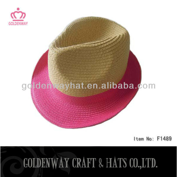 fashion pink straw fedora hat for ladies paper hats cheap new supply