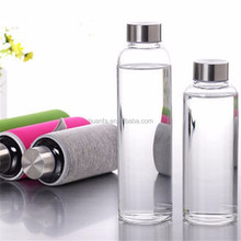 Hot sale product of 550ml portable drinking double wall glass sleeve clear water bottle shaker cup for outdoor sport with cap
