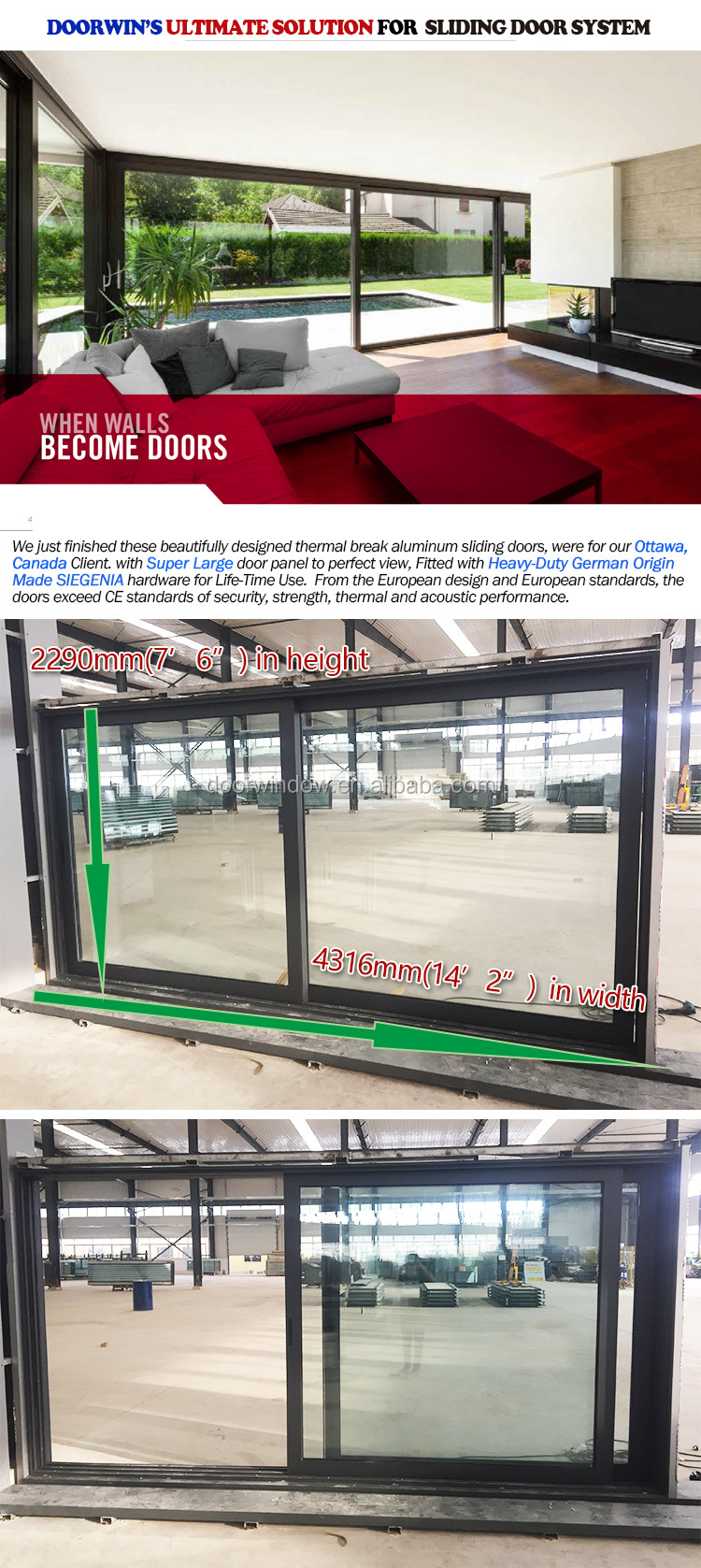 auto control large glass panel thermal break aluminum sliding door
