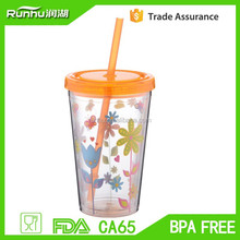 Idea product 2015 reusable ice cup cold/cool drinking with straw RH102(sizes available)