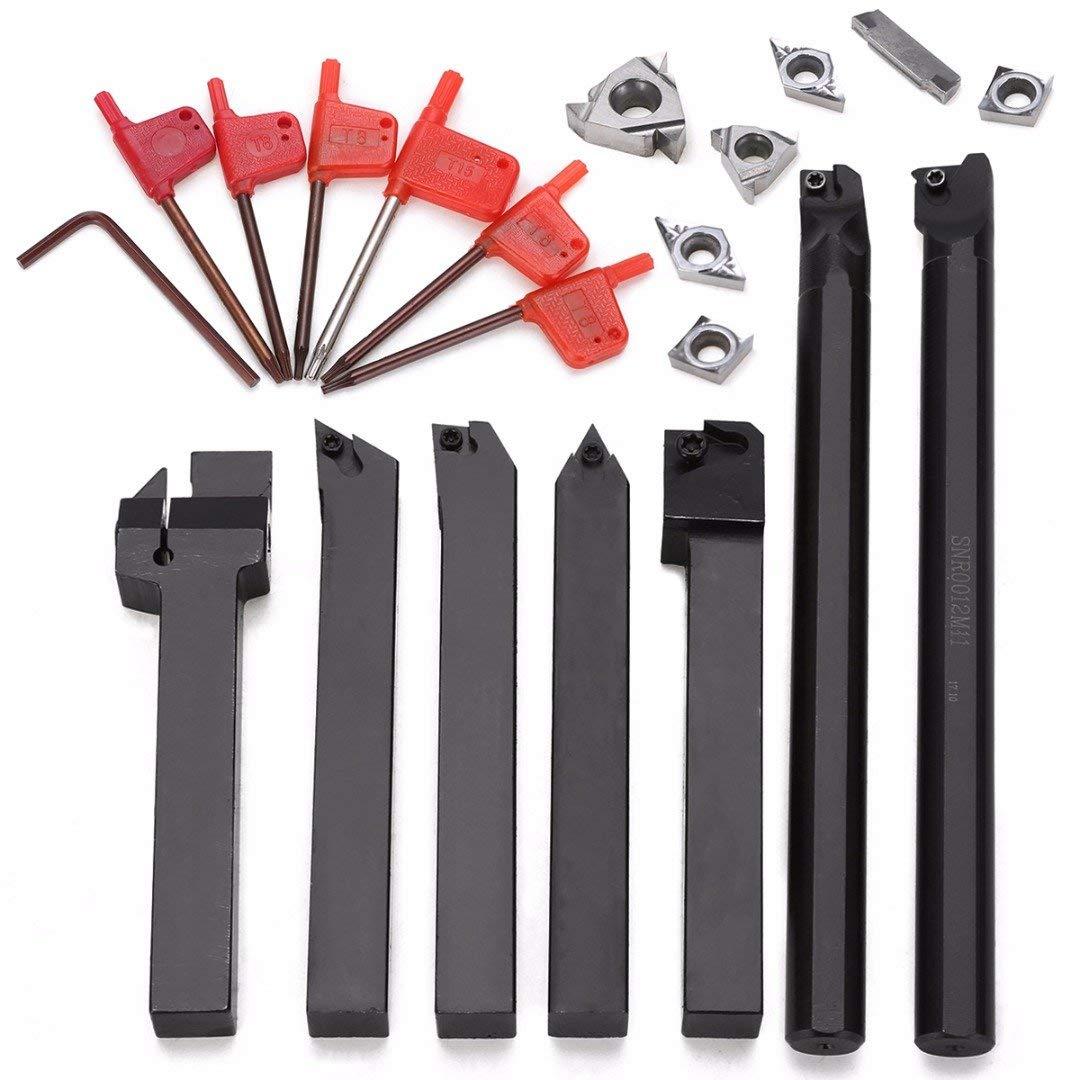 WILLAI 7pcs Lathe Turning Tool Holder Boring Bar 12mm Shank +7pcs Silver Carbide PVD Inserts Set For Machining Steel Mayitr