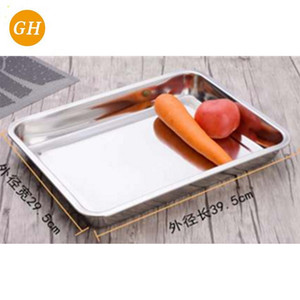 material Rectangular Thickened Silver Stainless Steel Serving Tray