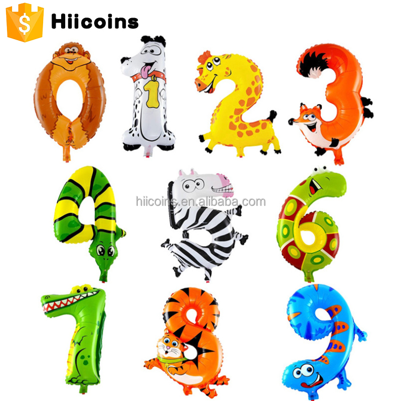 Cheap Wholesale Cartoon Animal Number Shaped Mylar Balloons Children Toys Birthday Party Decoration Balloons