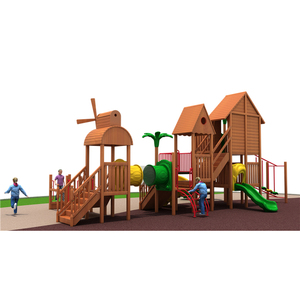 Fashionable outdoor playground equipments kids wooden slides for large wooden park