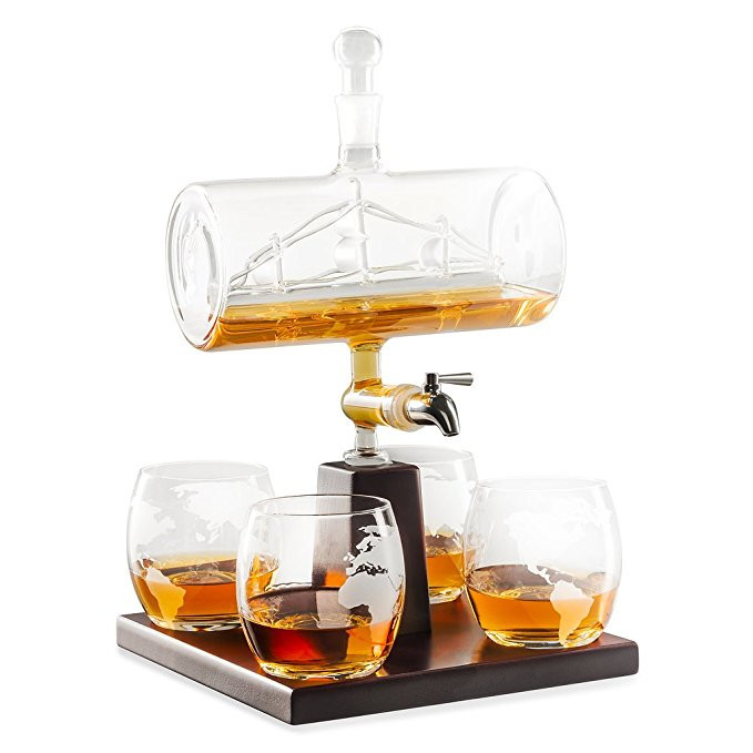 327ce89e4e6 2018 high quality 1000ml whiskey wine glasses decanter with stainless steel  spigot liquor dispenser glass ship decanter, View glass ship decanter, ...