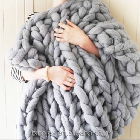 Hand Knitted Blanket Thick Merino Wool 100% Australia Giant Merino Wool Roving Super Chunky 21 micron For Knitting Blankets