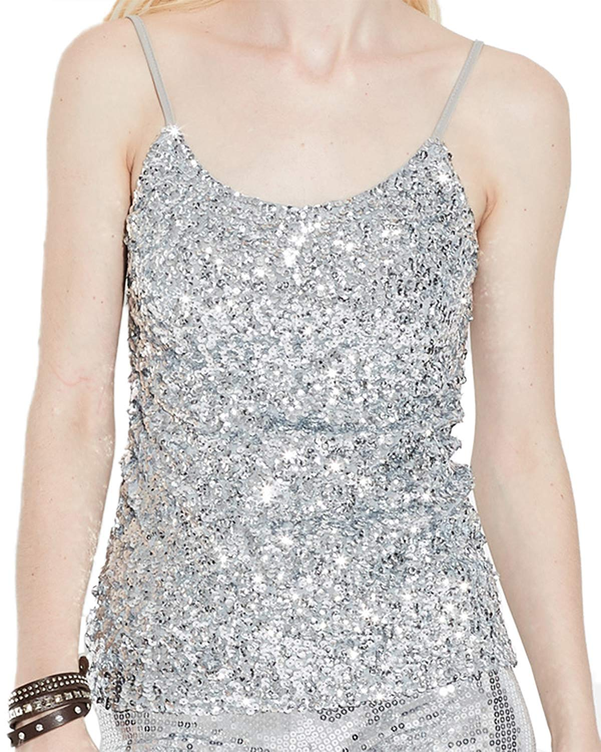 5f97163cefd2e Get Quotations · Anlydia Womens Sparkly Sequin Spaghetti Strap Party  Clubwear Tank Tops Shirt