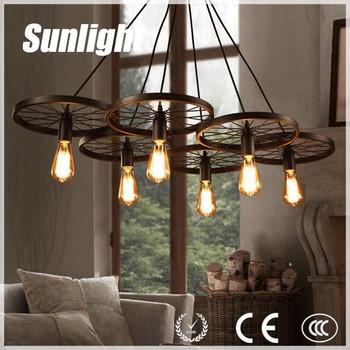 Loft Industrial Light Modern Chandelier Metal Wheel Hanging Light Iron  Pendant Light For Pub/ Canteen