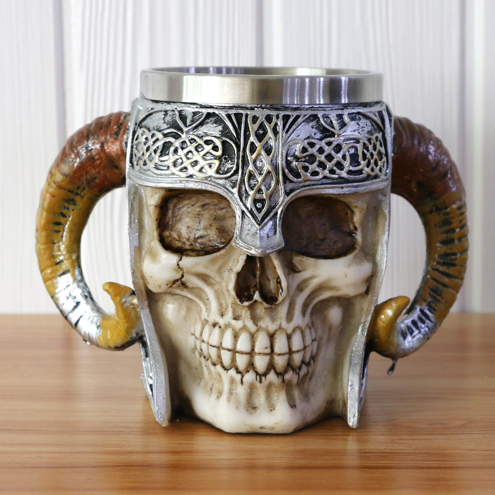 Double handle horn skulls beer cup viking warrior skulls mug tankard Stainless steel skulls mug halloween