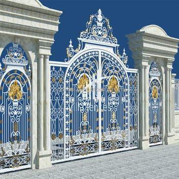Outdoor Cast Aluminum Door Design Fence Gate Solid Main For Luxury Villa