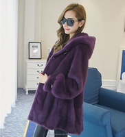 Full skin fashionable mink fur coat with hood for ladies, color purple