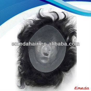 Qingdao Emeda high quality 100% human hair black mens toupee