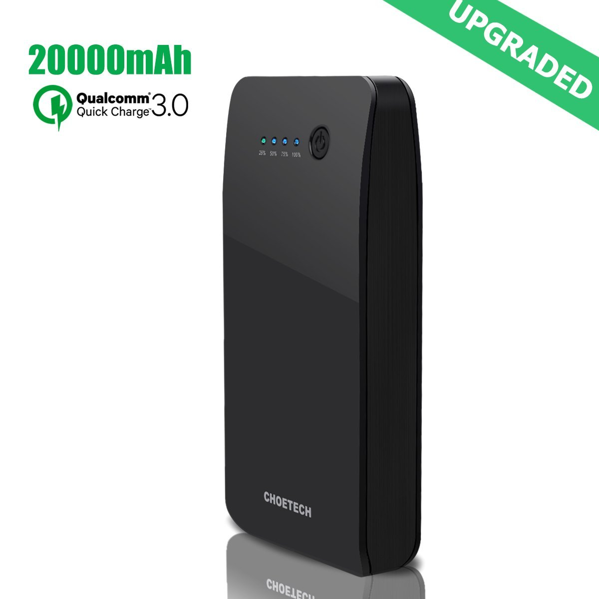 [Quick Charge 3.0] CHOETECH 20000mAh Portable Charger with Lightning and Quick Charge Inputs 20000 Power Bank(Backwards Compatible with Quick Charge 2.0) For Samsung, iPhone, iPad and more