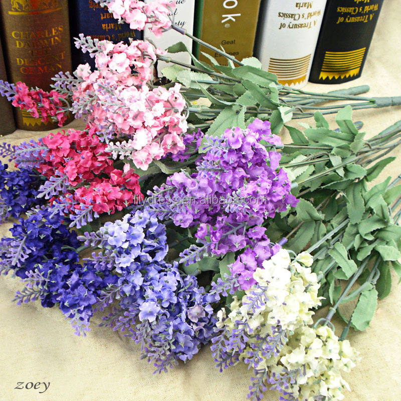 FO013 5 branches 10 Heads Artificial Lavender Flower artificial Silk flower arrangements for Wedding Home Party <strong>Decoration</strong>