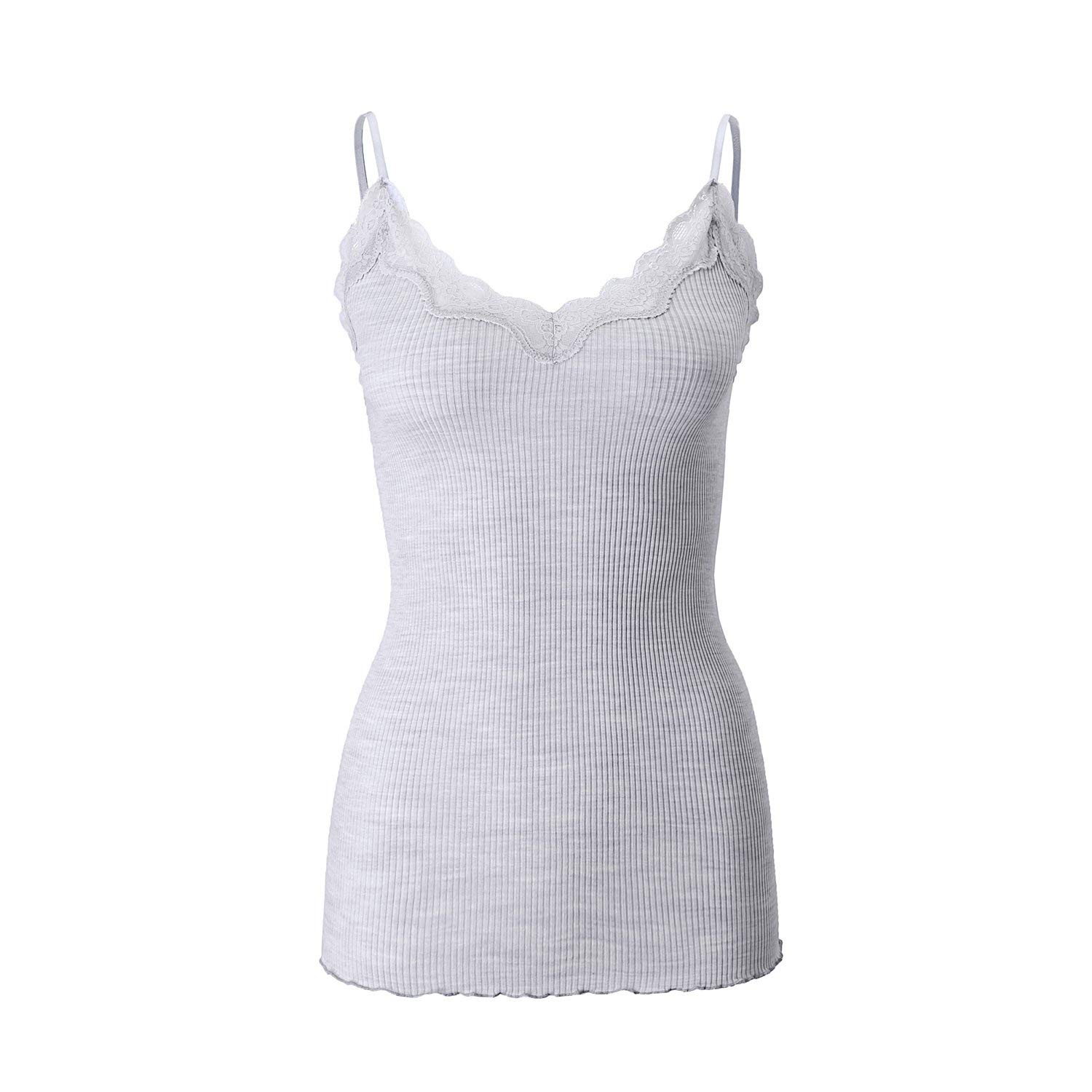 3acaddcaa9e24 Buy SilRiver Silk Knitted Women  39 s Fancy Camisole Tank Top With Elegant  Lace