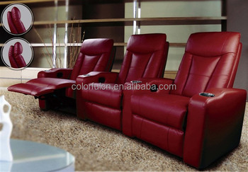 Red Leather Recliner Sofa For Home Solan Hotel 3 Seats Theater