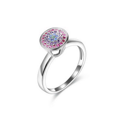Fancy Colourful CZ 925 Sterling Silver Solitaire Ring