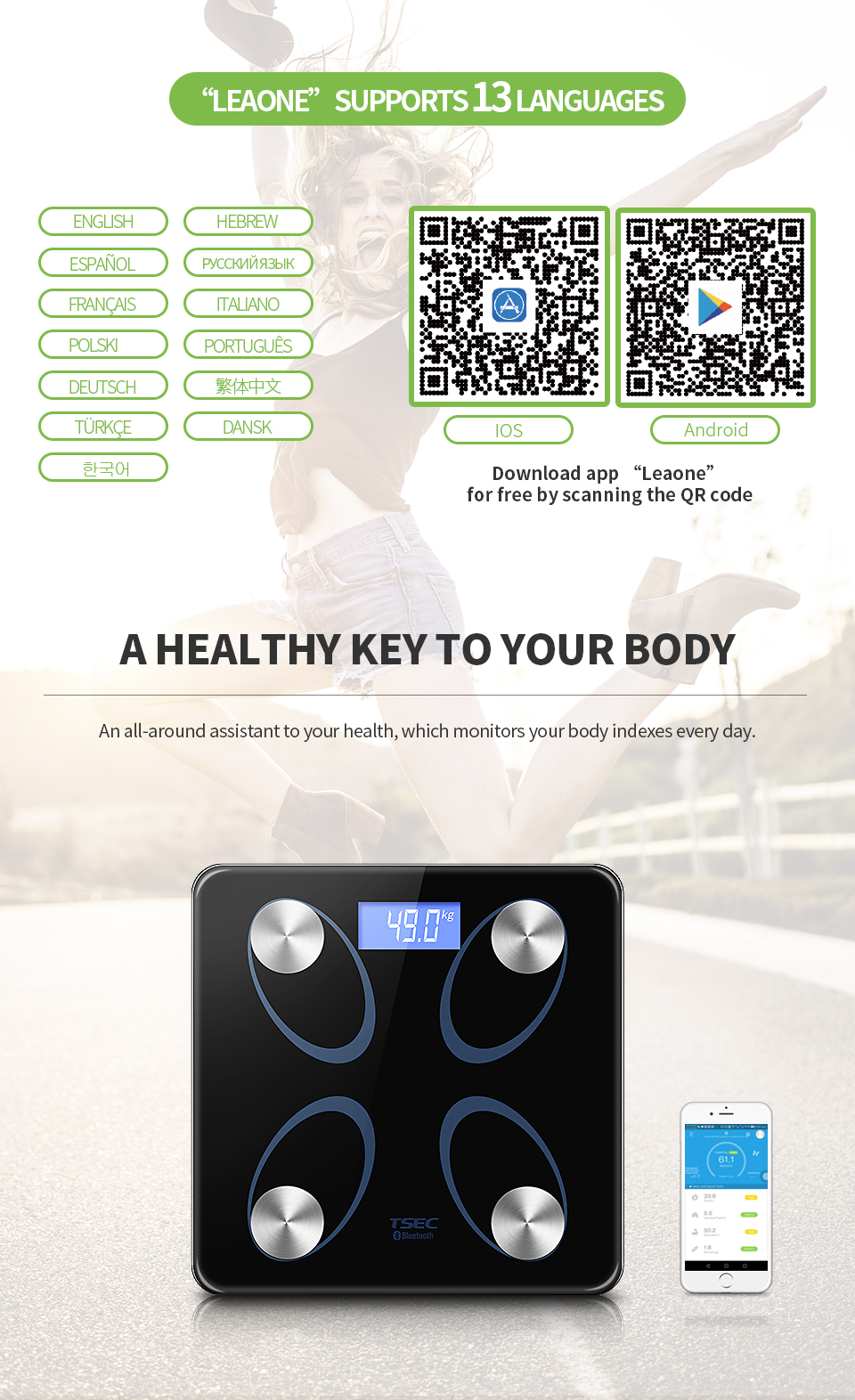 Household 180kg 6mm Tempered Glass Smart Bluetooth Digital Bathroom Body Waterproof Weight Fat Analysis Personal Weight Scales