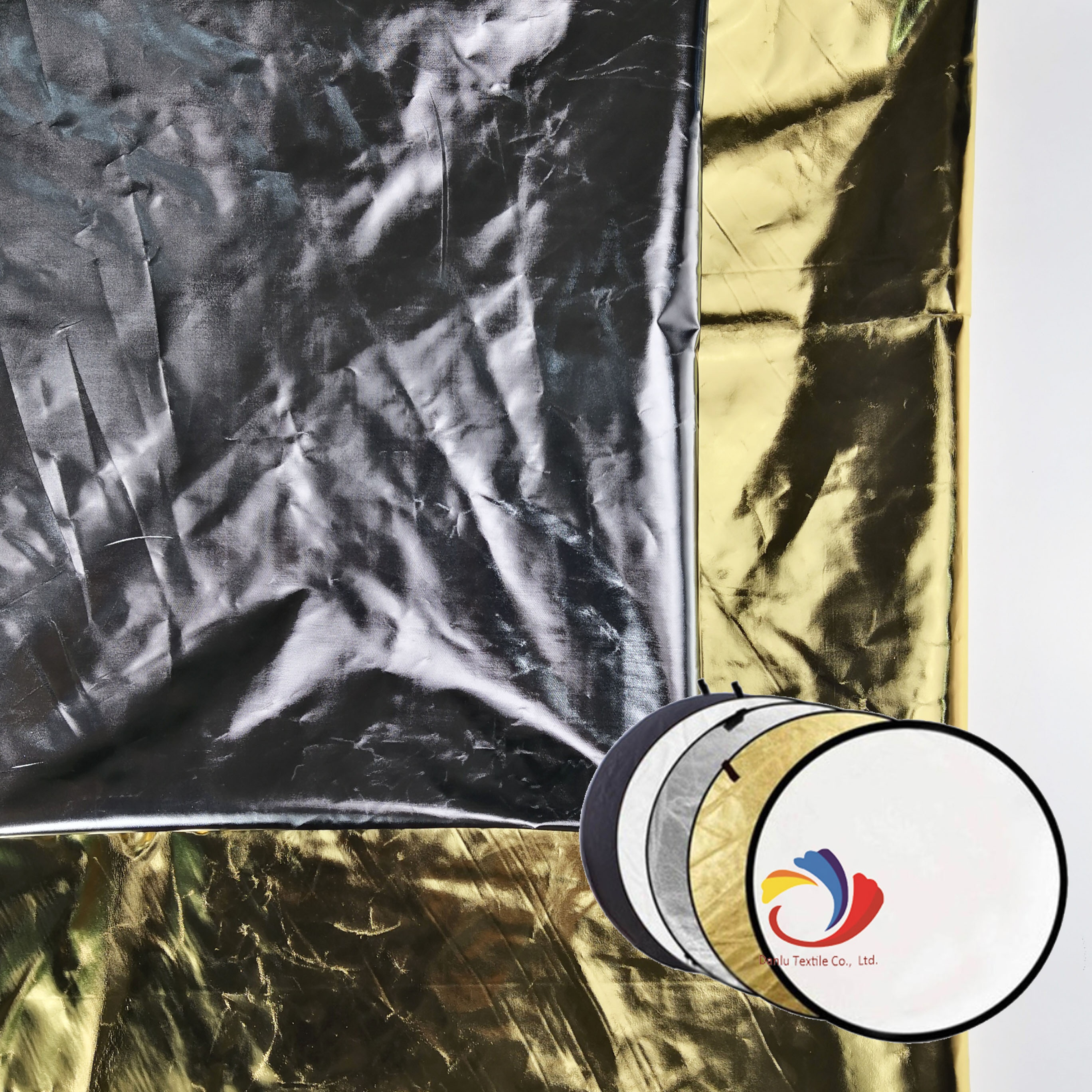 Professional Polyester Taffeta with Golden/Silver hot stamp Photography light reflector fabric