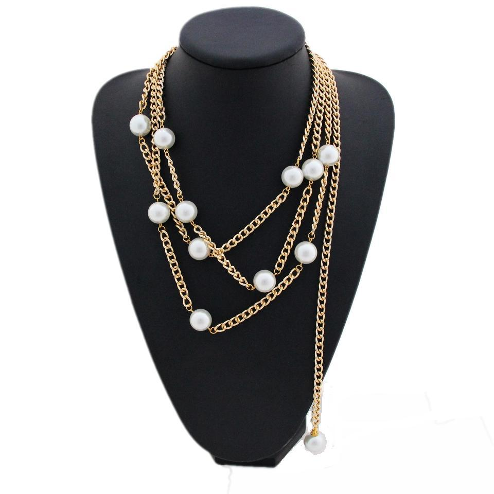 c69585f14c8d1 Get Quotations · Fashion Women Gold Plated Multi layer Chain with Big white  Pearl Pendant Bijoux Statement Choker Collar