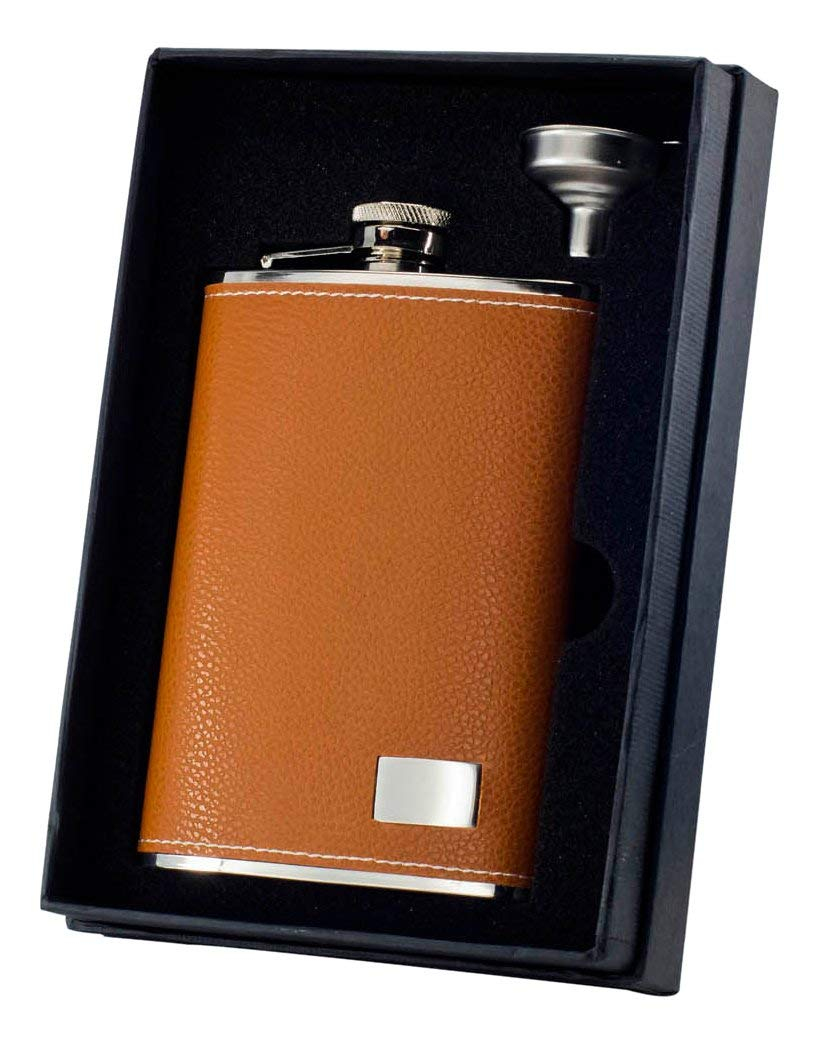 Get Quotations · Visol Holiday Essential II Wrangle Brown Leather Liquor Flask Gift Set, 8 oz, Silver