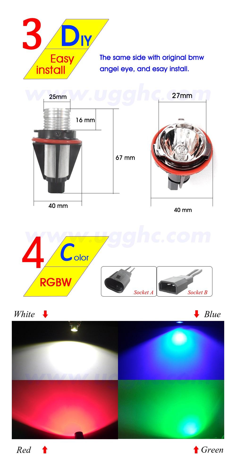 2*10W สีขาว LED Angel Eyes Led Halo หลอดไฟ 6500K สำหรับ E39 E53 E60 E63 E64 e65 E66 E83 E87 แองเจิลไฟหมอก