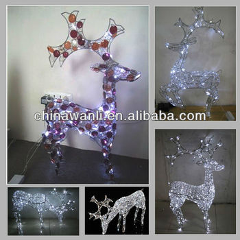 crystal beads deer w lighting reindeer led christmas light holiday decor