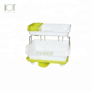 Plastic Double Layer Chopsticks Dish Drainer Tray Shelves Cutlery storage Holder Kitchen Dish Draining Rack