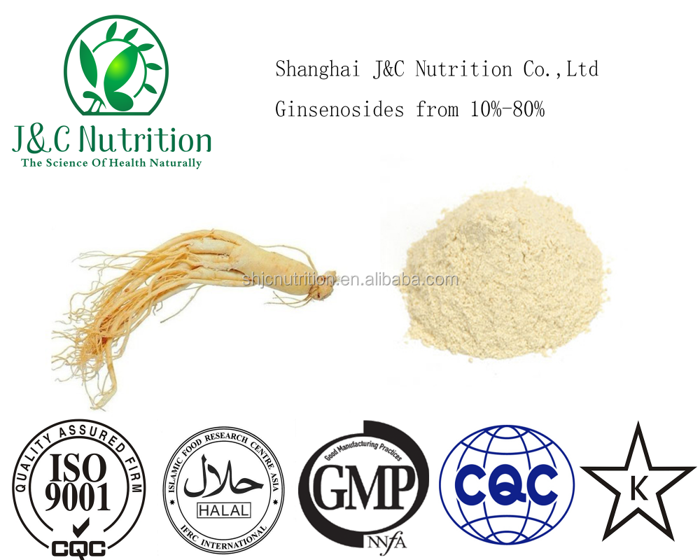 GMP factory supply high quality 10%-80% Ginsenoside from Panax ginseng extract, Panax ginseng p.e., ginseng root extract.