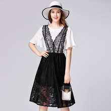 Fashion stylish new arrival good quality lace short sleeves sexy lace weeding evening dress skirt