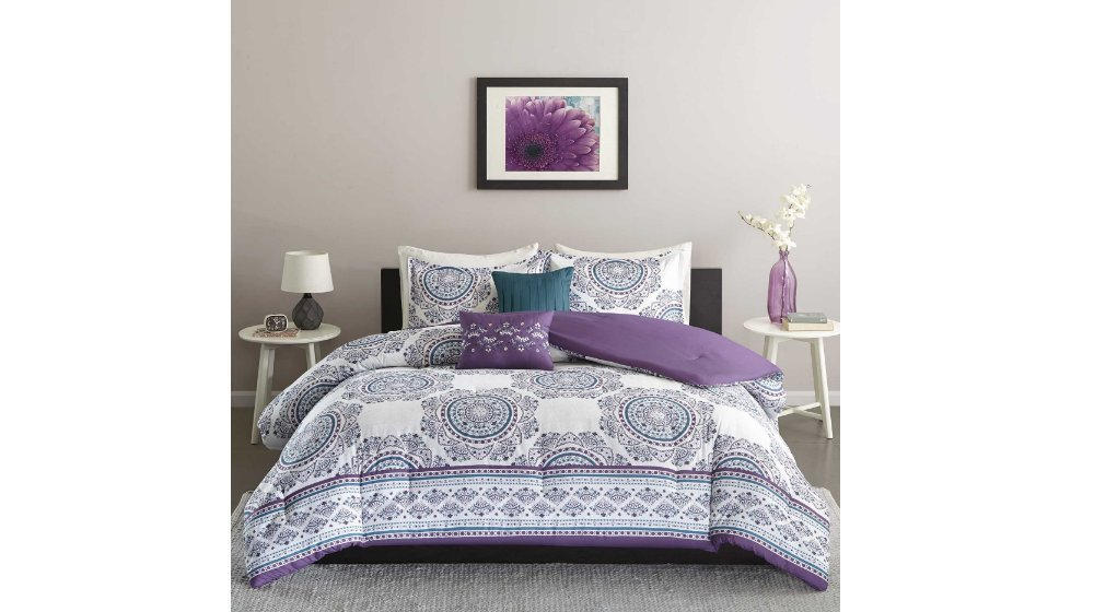 UNK 5pc Girls Purple Blue Medallion Theme Comforter Full Queen Set, Boho Chic Bohemian Themed Pattern, White Plum Violet Teal Turquoise, Pretty Girly Floral Motif Bedding