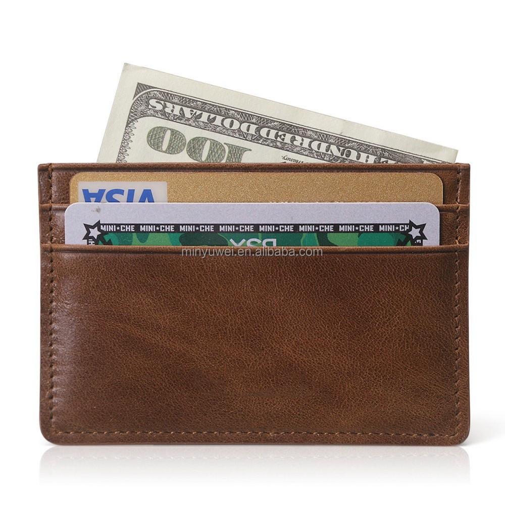Genuine leather Slim Wallet Money Clip ID Credit Card Holder Gift Black Brown