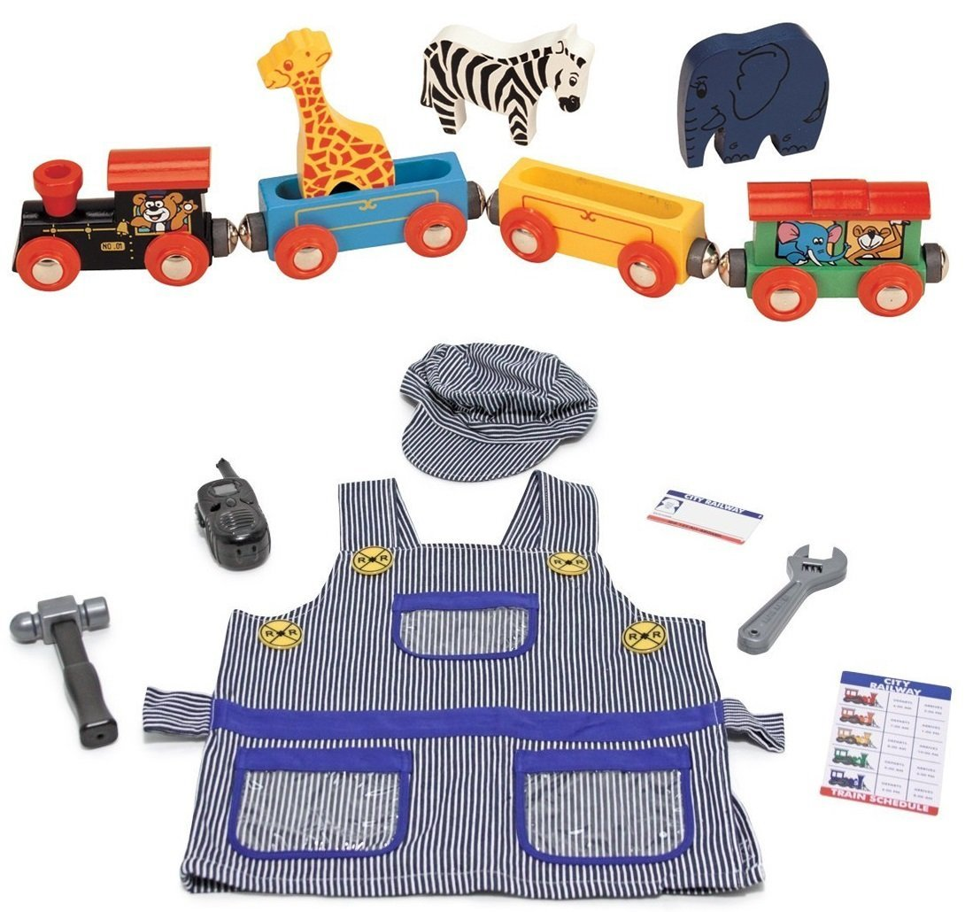 Wooden Toy Train Set Bundle with Melissa and Doug Train Engineer Dress Up Costume (2 Set Items)