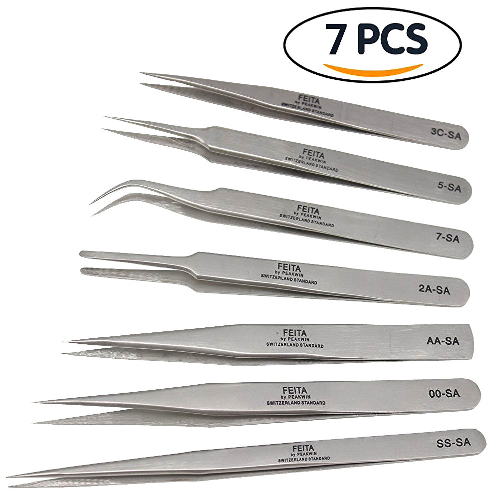FEITA SA Series Beauty Personal Care Stainless Steel OEM Consistent Tip Eyebrow Metal Tweezers