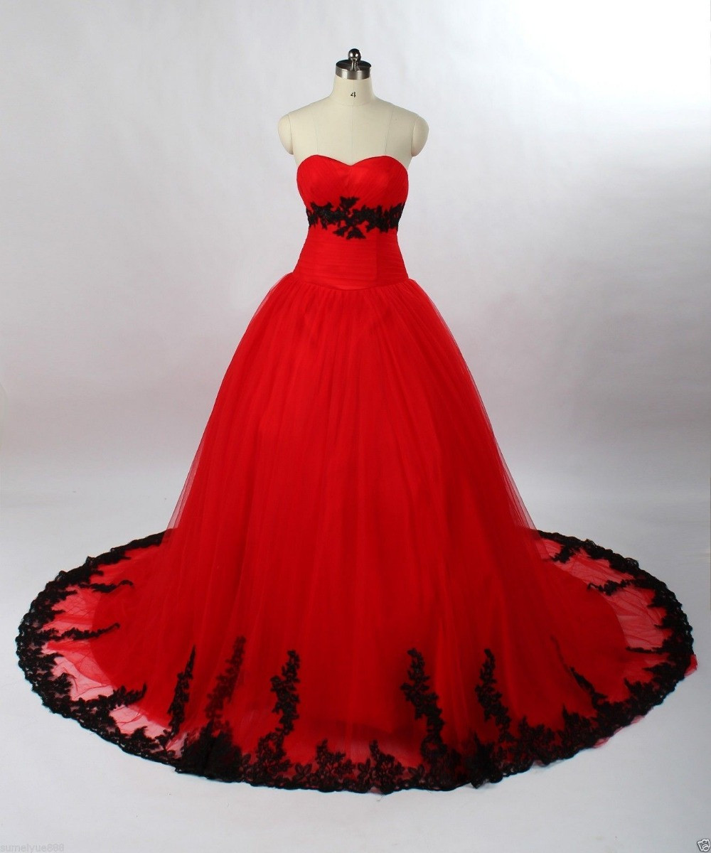 0fe8dc6b7d0a FA74 Vintage Ball Gown Principessa Nero E Rosso Gotico Abiti Da Sposa  Sweetheart 1960 s Colorati