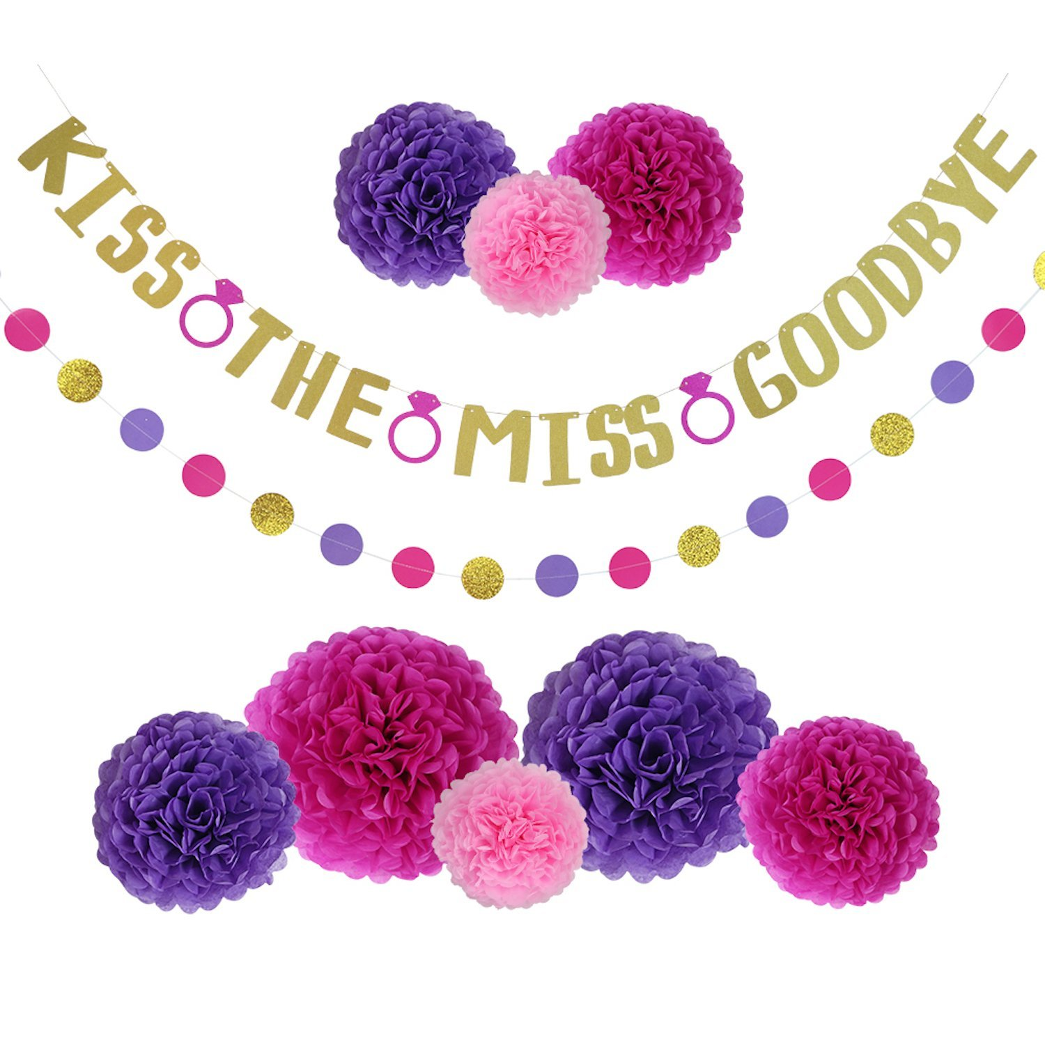 Bachelorette Party Decorations Kit, Bridal Shower Decor, Hen Party Supplies - Gold Glitter Banner w/ Hot Pink Rings, Set of 8 Purple & Pink Pom Poms and Garland