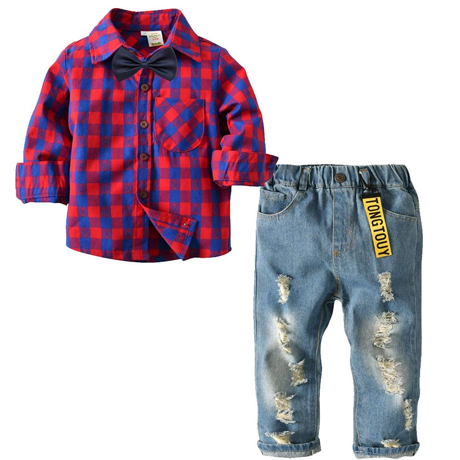 24d427a556ba2 AIKSSOO 2pcs Boys Gentleman Outfit Long Sleeve Grid Shirt Denim Jeans Pant  Clothing Sets Bow