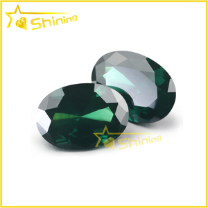 Oval shape Dark emerald green CZ emerald cubic zirconia gemstone