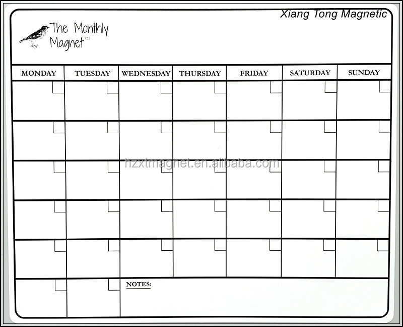 PVC Glued Monthly Calendar of White Fridge Magnet Writing Board Set with a Pen and Dry Eraser for Personal Memo Made in China