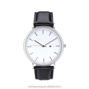 Fashion cheap stainless steel watches with top layer genuine leather strap