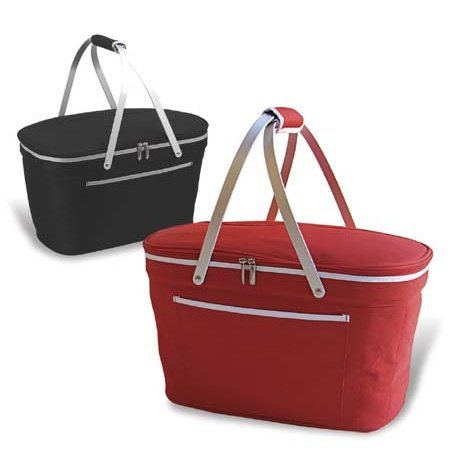 Folding insulated double handle picnic basket