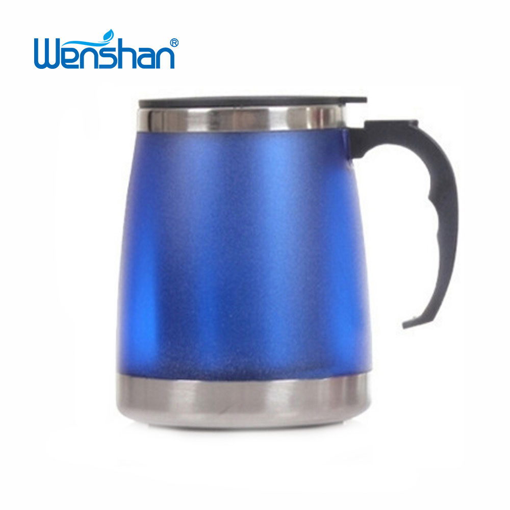 stainless steel inside plastic outside coffee mug with handle
