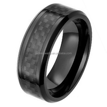 Wholesale 8mm Carbon Fiber Inlay Black Zirconium Ring for Men