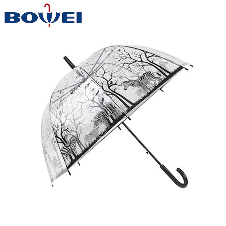 23 inch Apollo cheap transparent POE forest sika deer printing dome umbrella